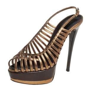 Giuseppe Zanotti Metallic Bronze Leather Strappy Peep Toe Platform Slingback Sandals Size 37