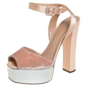 Giuseppe Zanotti Beige Velvet And Satin Platform Sandals Size 39