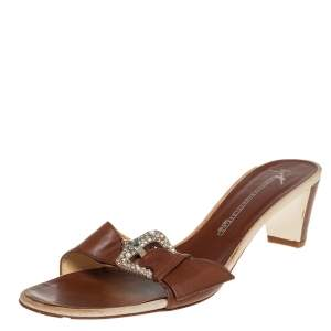 Giuseppe Zanotti Brown Leather Buckle Detail Slide Sandals Size 40