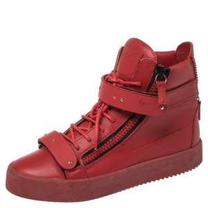 Giuseppe Zanotti Red Leather Coby High Top Sneakers Size 39