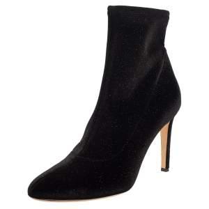 Giuseppe Zanotti Black Glitter Velvet Celeste Ankle Booties Size 41