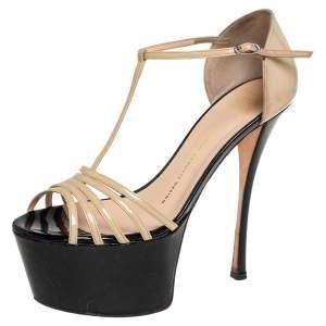 Giuseppe Zanotti Beige Patent Leather Strappy Sandals Size 39