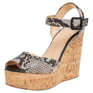Giuseppe Zanotti Two Tone Python Embossed Leather Cork Wedge Platform Ankle Strap Sandals Size 40