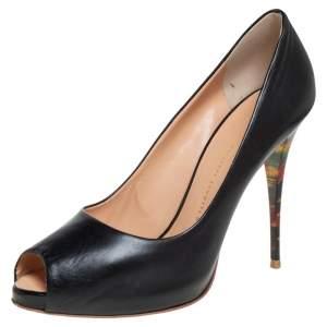 Giuseppe Zanotti Black Leather Peep Toe Pumps Size 40