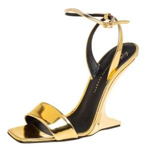 Giuseppe Zanotti Gold Leather  Ankle Strap Sandals Size 38