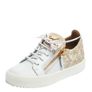 Giuseppe Zanotti White/Cream Velvet And Leather Double Zipper Low Top Sneakers Size 36