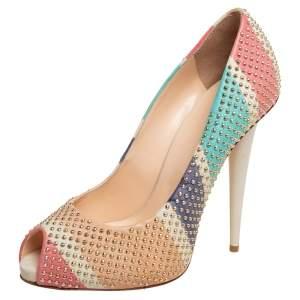 Giuseppe Zanotti Multicolor Leather Embellished Peep Toe Pumps Size 38