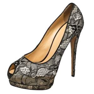 Giuseppe Zanotti Monochrome Lace Peep Toe Platform Pumps Size 41