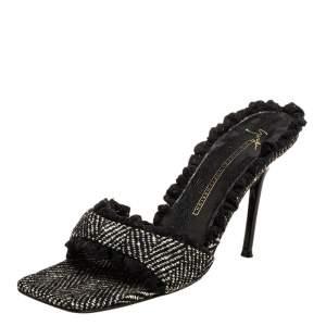 Giuseppe Zanotti Black Vintage Fabric Square Toe Sandals Size 37