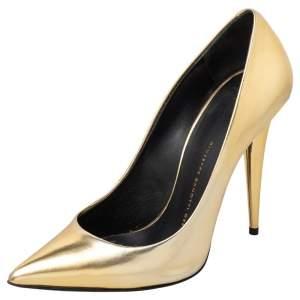 Giuseppe Zanotti Gold Leather Pointed Toe Pumps Size 38