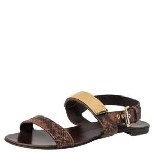 Giuseppe Zanotti Brown Python Embossed Leather Slingback Flat Sandals Size 39