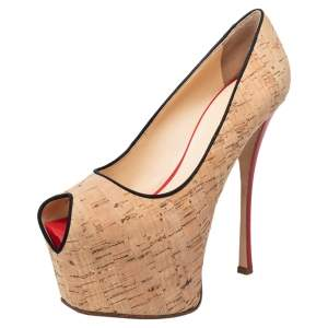 Giuseppe Zanotti Beige Cork Liza Peep Toe Platform Pumps Size 38