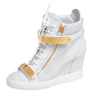 """حذاء رياضي جوسيبي زانوتي """"لورينز"""" جلد نقشة التمساح أبيض كعب روكي و طراز مرتفع من أعلى مقاس 39"""