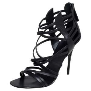 Giuseppe Zanotti Black Leather Strappy Open Toe Sandals Size 38.5
