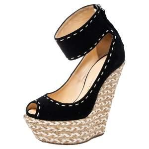 Giuseppe Zanotti Black Suede Peep Toe Wedge Espadrille Ankle Wrap Sandals Size 37