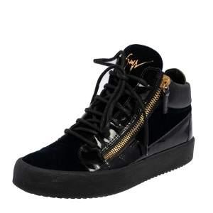 Giuseppe Zanotti Black/Navy Blue Velvet and Leather High Top Sneakers Size 40