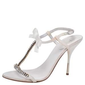 Giuseppe Zanotti White Fabric And Satin Embellished Ankle Strap Sandals Size 37.5