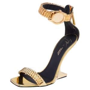 Giuseppe Zanotti Gold Leather Gzxcowan Ankle Strap Sandals Size 37
