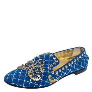 Giuseppe Zanotti Blue Suede Studded Smoking Slippers Size 39