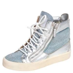 Giuseppe Zanotti Blue/Silver Denim Justy Crystal Studded High Top Sneakers Size 37