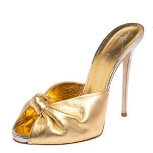 Giuseppe Zanotti Metallic Gold Leather Knotted Slip On Sandals Size 41