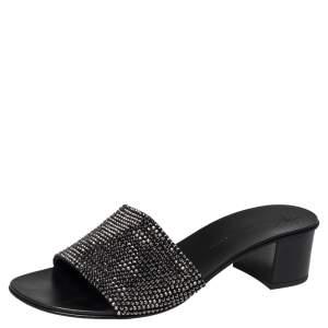 Giuseppe Zanotti Black Suede Crystal Embellished Block Heel Sandals Size 37.5