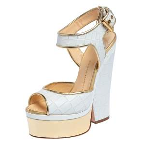 Giuseppe Zanotti White Croc Embossed Leather Peep Toe Platform Sandals Size 36.5