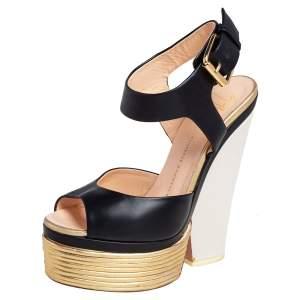 Giuseppe Zanotti Gold/Black Leather Peep Toe Platform Sandals Size 36.5