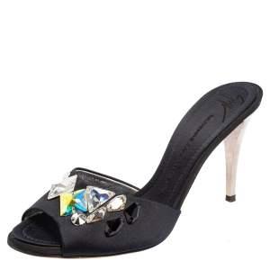 Giuseppe Zanotti Blue Satin Crystal Embellished Peep Toe Mule Sandals Size 40