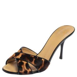 Giuseppe Zanotti Brown/Black Pony Hair And Leather Slide Sandals Size 39