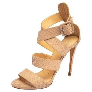 Giuseppe Zanotti Beige Python Embossed Leather Strappy Sandals Size 38.5