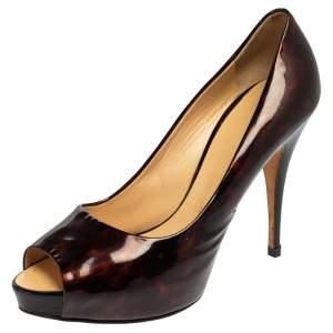 حذاء كعب عالي جوسيبي زانوتي جلد ترتواز شيل لامع بني مقدمة مفتوحة نعل سميك مقاس 39