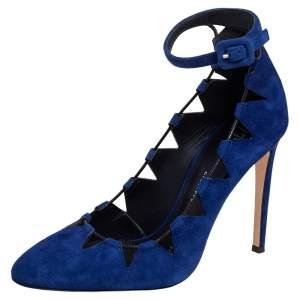 Giuseppe Zanotti Blue Suede Ankle Strap  Pumps Size 37