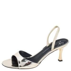 Giuseppe Zanotti Metallic Gold Leather Slingback Sandals Size 36.5