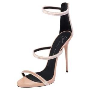 Giuseppe Zanotti Beige Velvet Harmony Strap Sandals Size 40