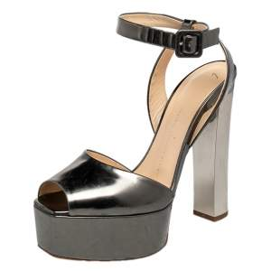 Giuseppe Zanotti Metallic Grey Leather Betty Peep Toe Platform Sandals Size 40