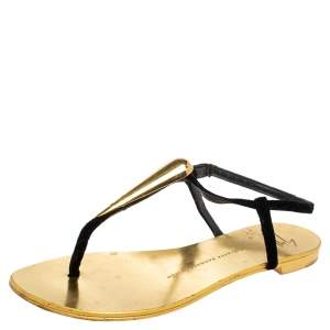 Giuseppe Zanotti Gold/Black Suede and Leather Thong Flats Size 38.5