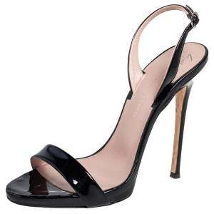 Giuseppe Zanotti Black Patent Leather open Toe Slingback Sandals Size 37