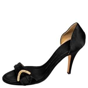 Giuseppe Zanotti Black Satin Embellished Open Toe Pumps Size 40