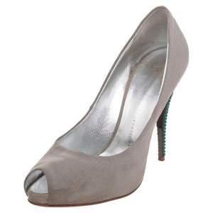 Giuseppe Zanotti Grey Fabric  Peep Toe Pumps Size 39