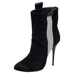 Giuseppe Zanotti Black Suede Crystal Embellished Ankle Boots Size 40