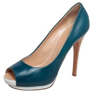 Giuseppe Zanotti Blue Leather Peep Toe Platform Pumps Size 41