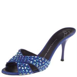 Giuseppe Zanotti Blue Suede Embellished Slide Sandals Size 40