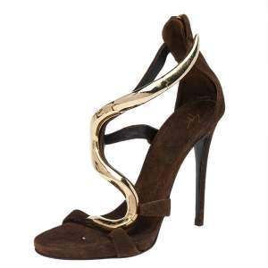 Giuseppe Zanotti Brown Suede Alien Ankle Strap Sandals Size 37