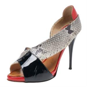 Giuseppe Zanotti Multicolor Python Embossed And Patent Leather D'orsay Peep Toe Pumps Size 38