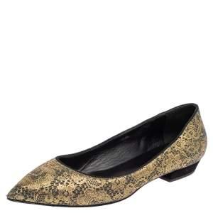 Giuseppe Zanotti Metallic Gold  Textile Fabric  Ballet Flats Size 37