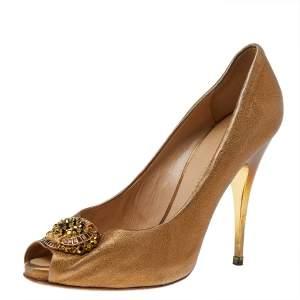 Giuseppe Zanotti Gold Leather Embellished Peep Toe Pumps Size 38