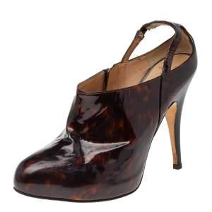 Giuseppe Zanotti Brown Patent Leather Slingback Booties Size 38