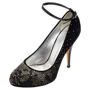 Giuseppe Zanotti Black Suede Glitter Embellished Ankle Strap Pumps Size 38