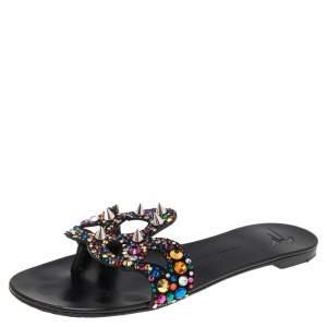 Giuseppe Zanotti Black Suede Crystal Embellished Flats Size 38